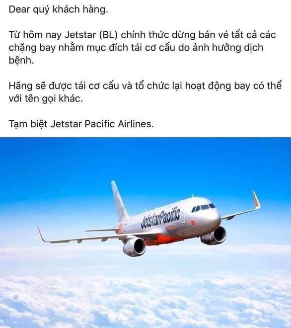 Jetstar Pacific ngừng bán vé tất cả đường bay để tái cơ cấu? - Ảnh 1.