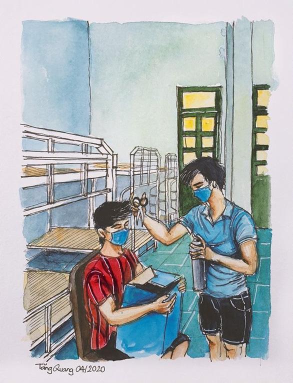 Vẽ về khu cách ly Việt Nam - bộ tranh truyền cảm hứng cực mạnh của một du học sinh - Ảnh 6.