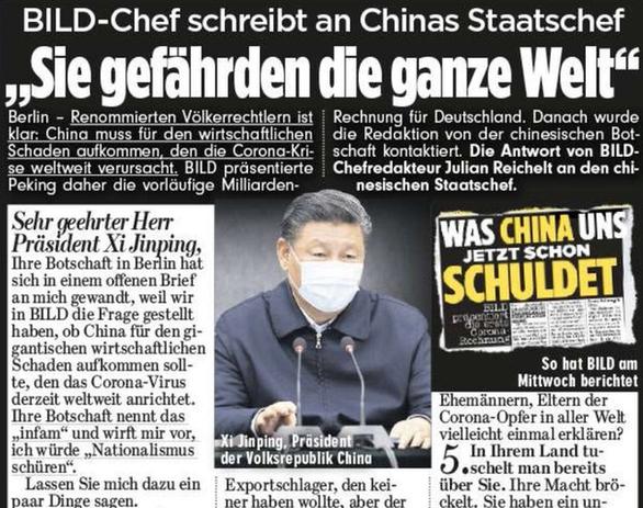 Tờ Bild đòi Trung Quốc bồi thường cho Đức 160 tỉ USD vì COVID-19 - Ảnh 1.