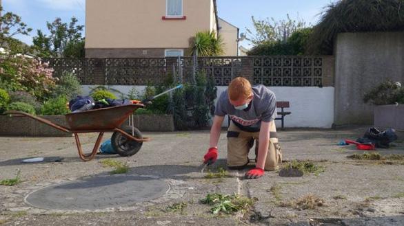 Buồn chán vì ở nhà nghỉ dịch, chàng trai vác cào dọn sạch cỏ cả khu phố - Ảnh 1.