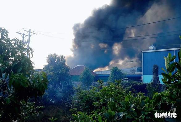 Cháy công ty chuyên sản xuất bao bì và may mặc ở Tiền Giang - Ảnh 1.