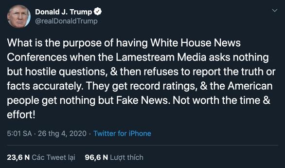 Tổng thống Trump: Họp báo vô ích, báo chí toàn hỏi những câu gây sự - Ảnh 2.