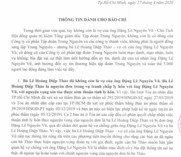 Tập đoàn Trung Nguyên tiếp tục khẳng định bà Thảo không còn là cổ đông - Ảnh 1.