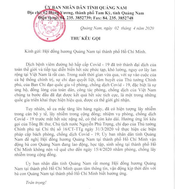 Chủ tịch tỉnh Quảng Nam viết thư kêu gọi đồng hương đừng về lúc này - Ảnh 1.