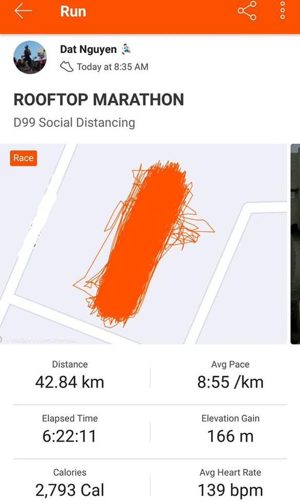 Người Việt đầu tiên chạy marathon 42,195km trên sân thượng chung cư - Ảnh 2.