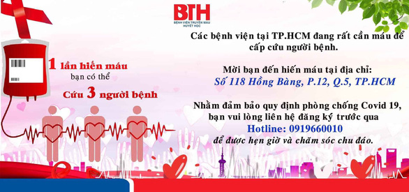 TP.HCM thiếu lượng máu nghiêm trọng trong thời điểm cách ly xã hội - Ảnh 2.