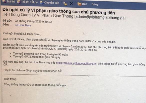 Nhận email từ Cục CSGT báo lỗi vi phạm giao thông? Chắc chắn bẫy lừa! - Ảnh 1.