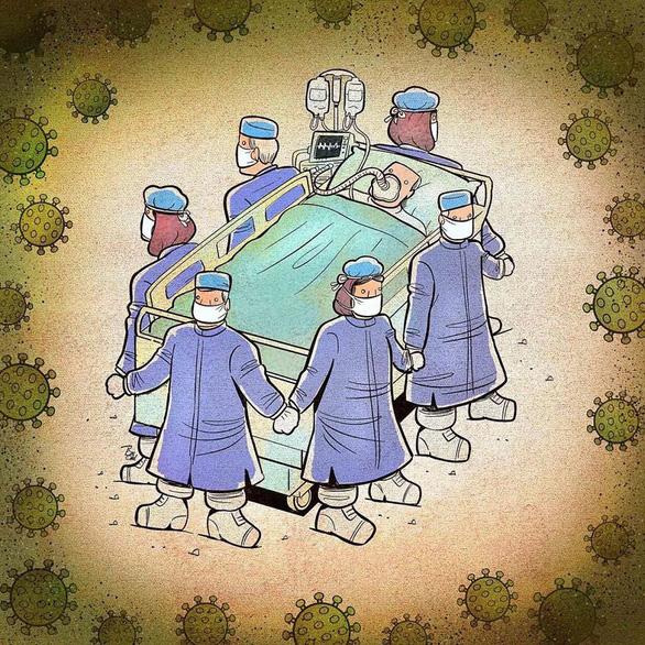 Bộ tranh xúc động về những chiến sĩ cảm tử áo trắng chống COVID-19 - Ảnh 7.