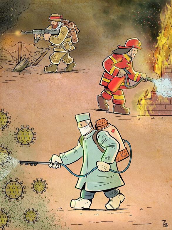Bộ tranh xúc động về những chiến sĩ cảm tử áo trắng chống COVID-19 - Ảnh 1.