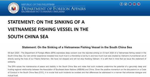 Vụ tàu TQ đâm chìm tàu cá Việt Nam: Philippines tuyên bố ủng hộ Việt Nam - Ảnh 1.