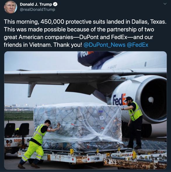 Ông Trump cảm ơn Việt Nam phối hợp cung cấp 450.000 bộ quần áo bảo hộ cho Mỹ - Ảnh 3.