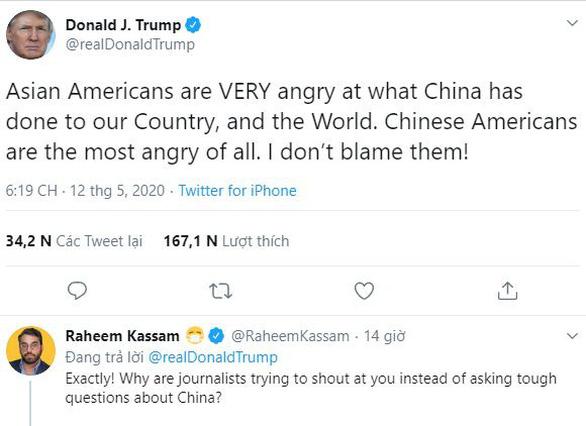 Ông Trump nói người Mỹ gốc Á tức giận với Trung Quốc vì dịch COVID-19 - Ảnh 1.