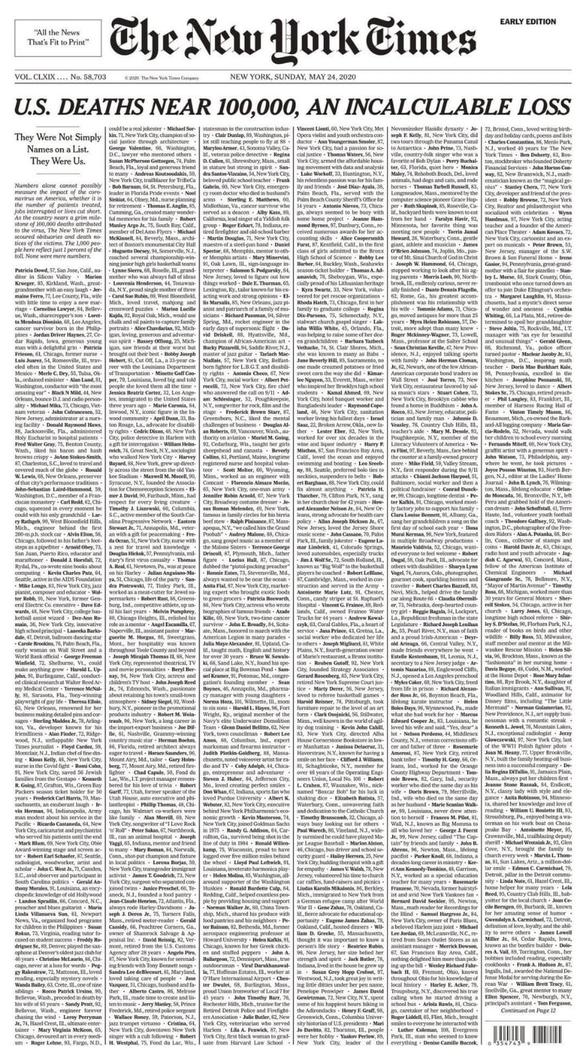 Dịch COVID-19: New York Times đếm không xuể người chết tại Mỹ - Ảnh 1.