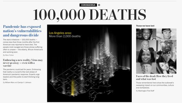 Nhiều báo lớn của Mỹ: Đã vượt mốc 100.000 người chết vì COVID-19 - Ảnh 1.