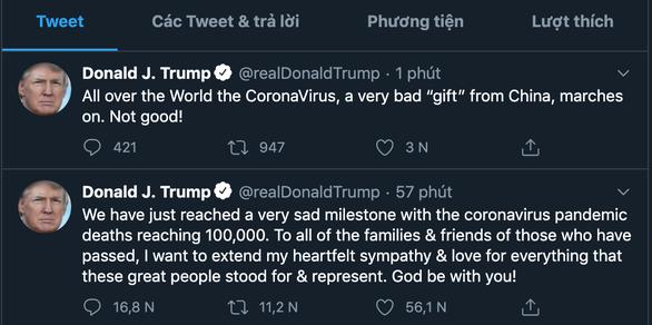 Chia buồn 100.000 ca chết vì COVID-19 xong, ông Trump lại đá xoáy Trung Quốc - Ảnh 2.
