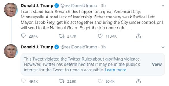 Twitter tiếp tục cảnh báo ông Trump là đăng nội dung cổ xúy bạo lực - Ảnh 2.