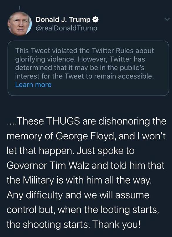 Twitter tiếp tục cảnh báo ông Trump là đăng nội dung cổ xúy bạo lực - Ảnh 1.