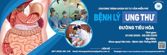 Bệnh viện Thống Nhất khám, tư vấn ung thư đường tiêu hóa miễn phí - Ảnh 1.