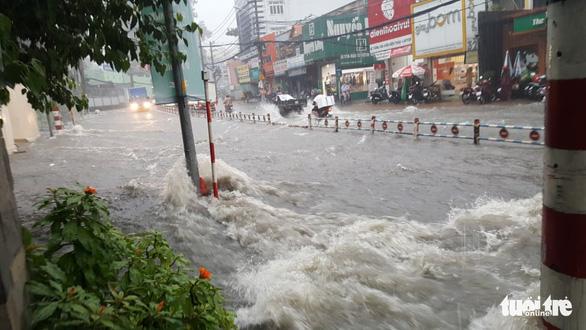 TP.HCM: Mưa lớn nước chảy như lũ trên phố, cây gãy cành đè người đi đường - Ảnh 4.