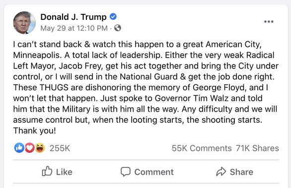 Ông chủ Facebook tuyên bố không xóa các 'tút' của ông Trump như Twitter - Ảnh 2.