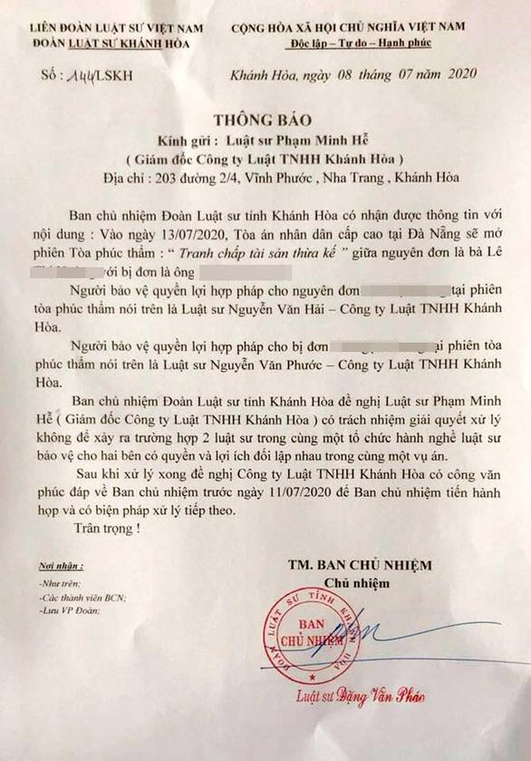 Công ty Luật Khánh Hòa lại bảo vệ cho cả nguyên đơn lẫn bị đơn - Ảnh 1.