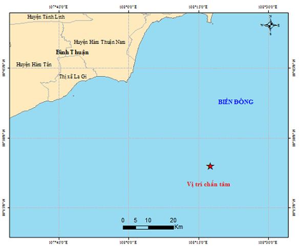 Động đất 4 độ Richter ngoài khơi Bình Thuận - Ảnh 1.