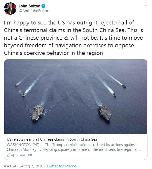Ông John Bolton: 'Biển Đông không phải một tỉnh của Trung Quốc' - Ảnh 2.