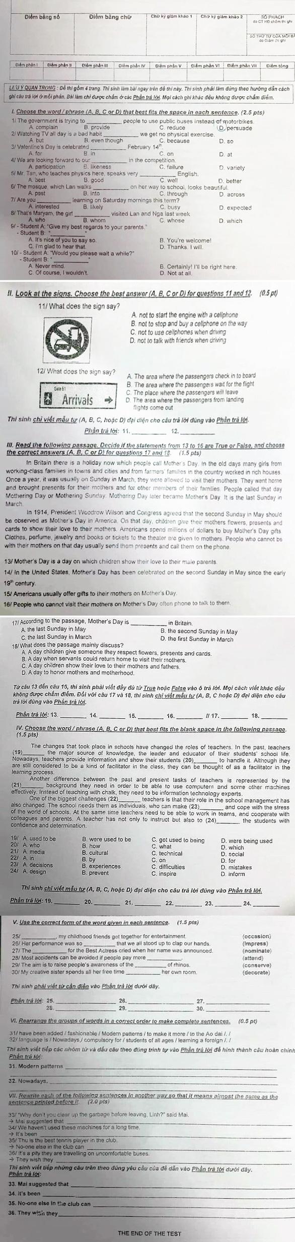Đề thi và gợi ý bài giải môn tiếng Anh thi vào lớp 10 TP.HCM - Ảnh 1.