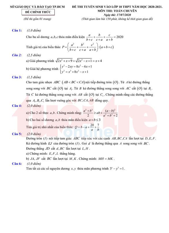 Đề và bài giải gợi ý môn toán lớp 10 chuyên ở TP.HCM - Ảnh 2.