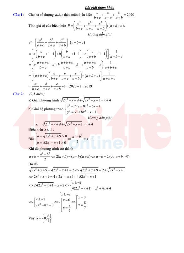 Đề và bài giải gợi ý môn toán lớp 10 chuyên ở TP.HCM - Ảnh 3.