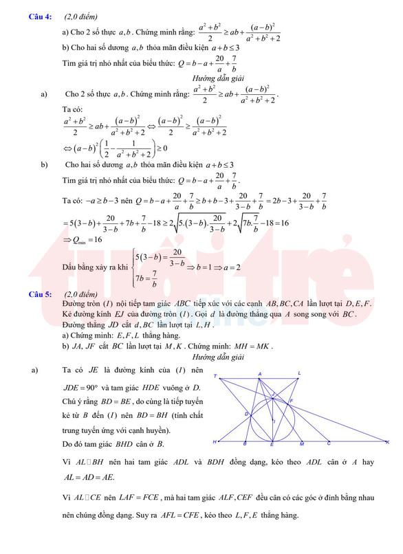 Đề và bài giải gợi ý môn toán lớp 10 chuyên ở TP.HCM - Ảnh 5.