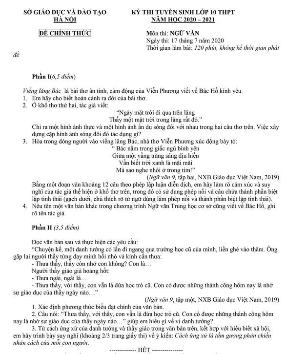 Gợi ý bài làm môn văn thi lớp 10 Hà Nội - Ảnh 1.