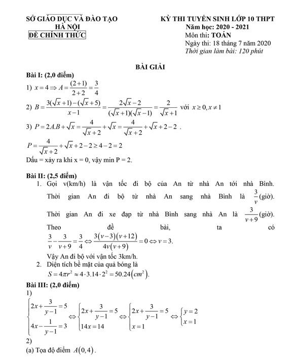 Bài giải gợi ý môn toán thi lớp 10 Hà Nội - Ảnh 1.