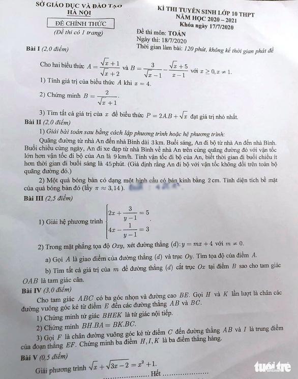 Đề toán thi lớp 10 Hà Nội vừa tầm, dự báo nhiều thí sinh 8-9 điểm - Ảnh 1.