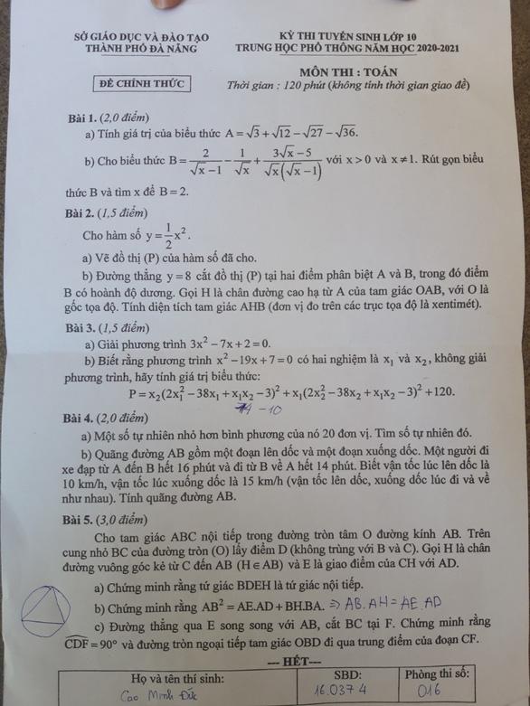 Đề thi Toán lớp 10 Đà Nẵng dài và khó đạt điểm tối đa - Ảnh 2.
