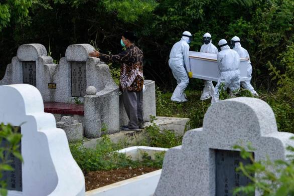 Đào mộ người chết vì virus corona ở Indonesia - Ảnh 1.