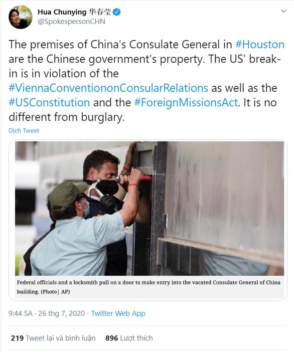 Bắc Kinh nói Mỹ chẳng khác trộm đạo khi phá cửa lãnh sự quán ở Houston - Ảnh 1.
