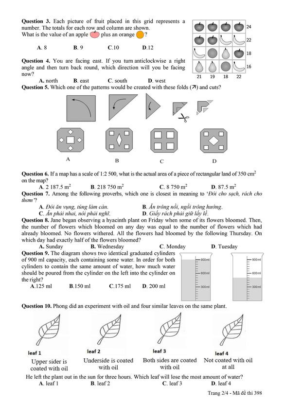 Công bố đáp án và đề khảo sát tuyển sinh lớp 6 Trường THPT chuyên Trần Đại Nghĩa - Ảnh 14.
