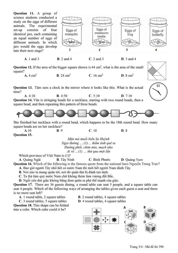 Công bố đáp án và đề khảo sát tuyển sinh lớp 6 Trường THPT chuyên Trần Đại Nghĩa - Ảnh 15.