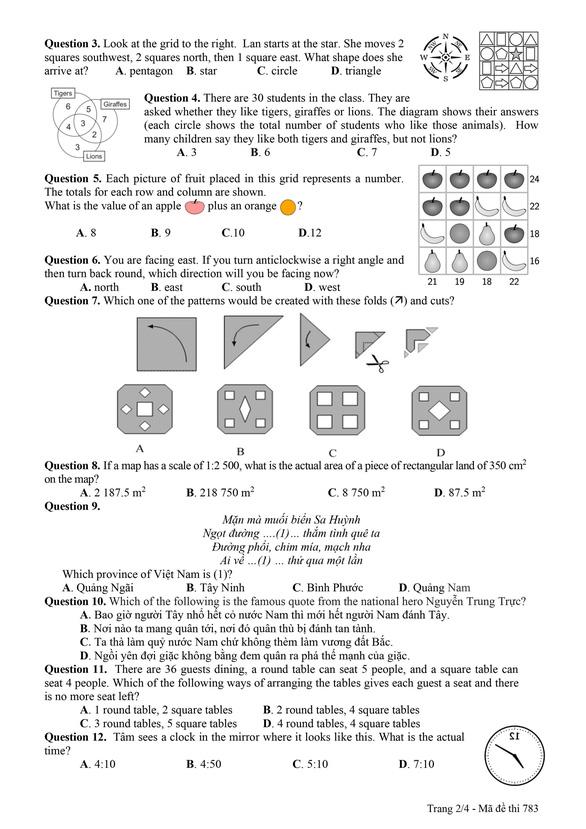 Công bố đáp án và đề khảo sát tuyển sinh lớp 6 Trường THPT chuyên Trần Đại Nghĩa - Ảnh 10.