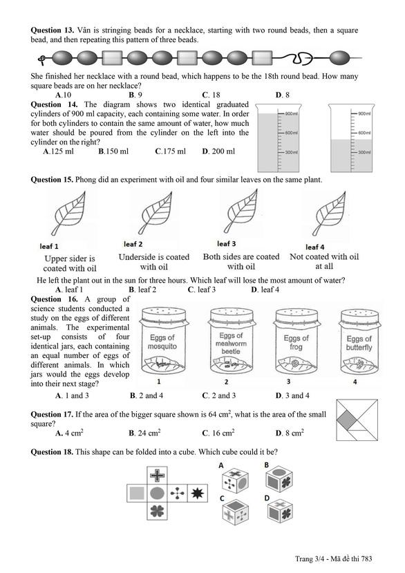 Công bố đáp án và đề khảo sát tuyển sinh lớp 6 Trường THPT chuyên Trần Đại Nghĩa - Ảnh 11.
