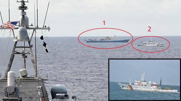 Tàu chiến Mỹ, tàu kiểm ngư Việt Nam, tàu Hải Dương 4 xuất hiện gần nhau ở Biển Đông - Ảnh 4.