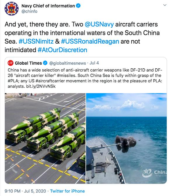 Báo Trung Quốc dọa có sát thủ diệt tàu sân bay ở Biển Đông, Mỹ đáp Không sợ! - Ảnh 1.