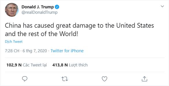 Liên tục xài chữ virus Trung Quốc, ông Trump nói Bắc Kinh tàn phá thế giới - Ảnh 1.