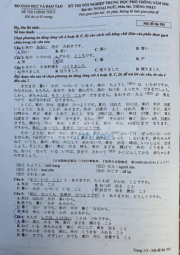 Mời bạn đọc xem đề tiếng Nhật kỳ thi tốt nghiệp THPT 2020 - Ảnh 1.