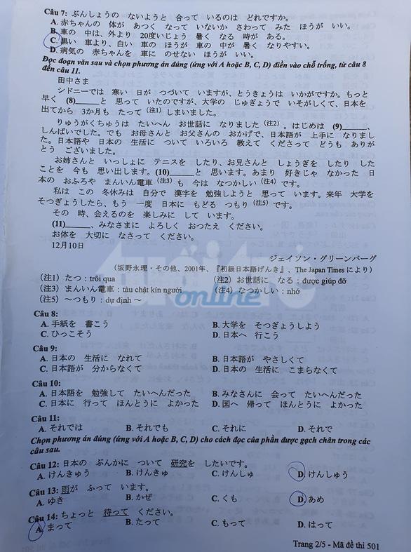 Mời bạn đọc xem đề tiếng Nhật kỳ thi tốt nghiệp THPT 2020 - Ảnh 2.
