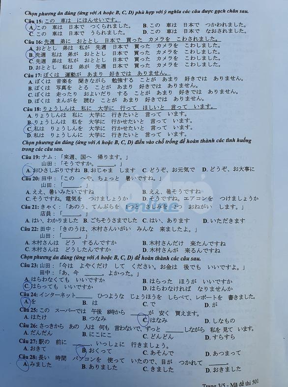 Mời bạn đọc xem đề tiếng Nhật kỳ thi tốt nghiệp THPT 2020 - Ảnh 3.