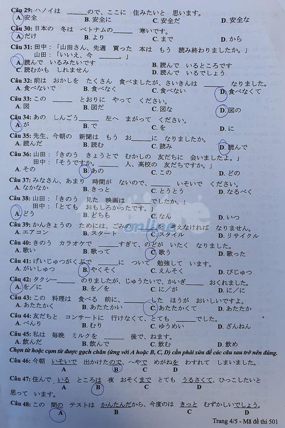 Mời bạn đọc xem đề tiếng Nhật kỳ thi tốt nghiệp THPT 2020 - Ảnh 4.