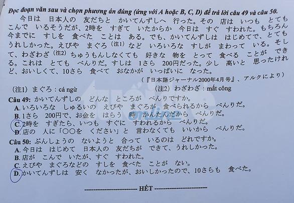 Mời bạn đọc xem đề tiếng Nhật kỳ thi tốt nghiệp THPT 2020 - Ảnh 5.