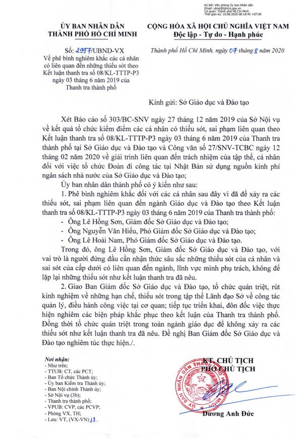 UBND TP.HCM phê bình Sở GD-ĐT vì tổ chức đoàn đi công tác Nhật Bản - Ảnh 1.